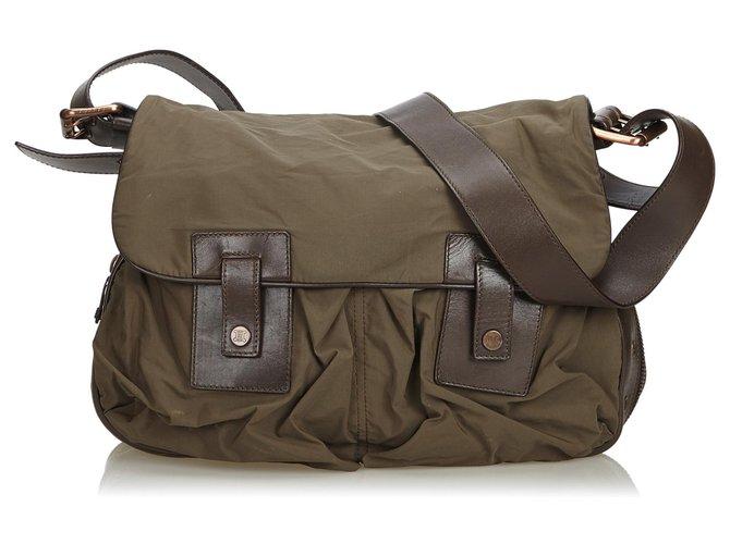 Céline Celine Brown Nylon Messenger Bag Handbags Leather,Other,Nylon,Cloth Brown,Khaki,Dark brown ref.125084