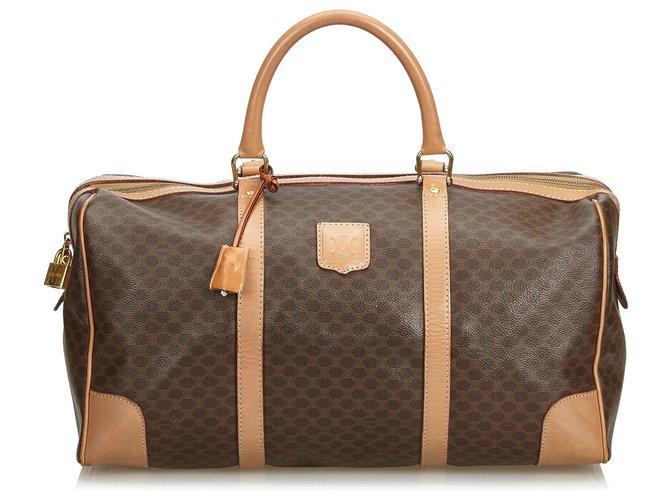 Céline Celine Brown Macadam Duffle Bag Travel bag Leather,Other,Plastic Brown ref.125141