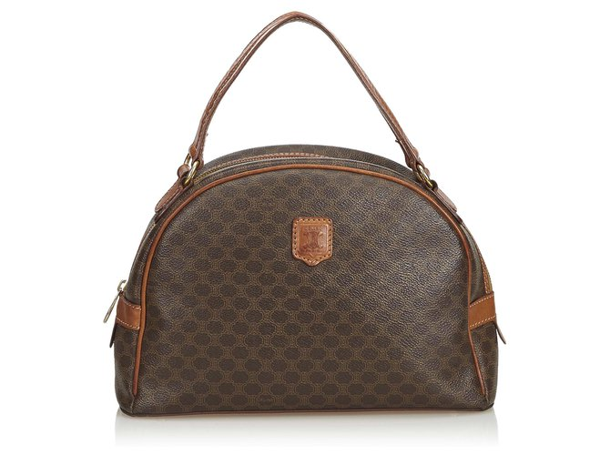 Céline Celine Brown Macadam Handbag Handbags Leather,Other,Plastic Brown ref.125142