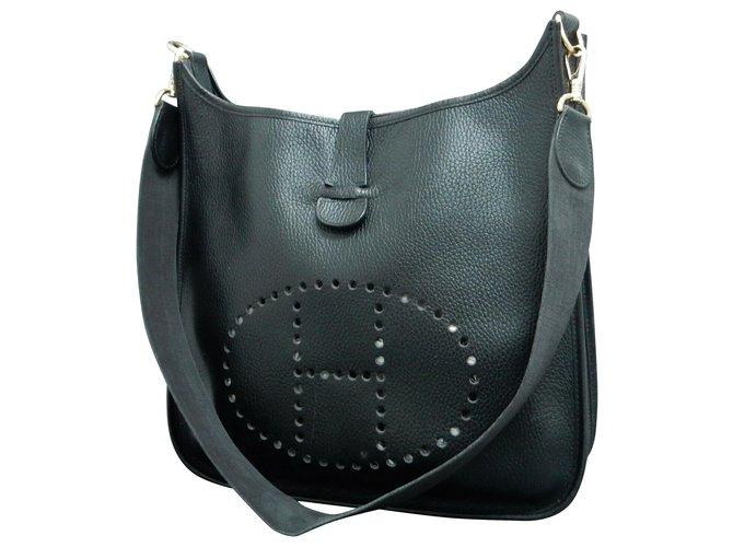 Sacs à main Hermès Hermes Evelyne GM 33 Cuir Noir ref.125169