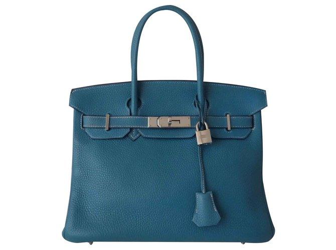 Hermès HERMES BIRKIN BAG 30 blue jeans Handbags Leather Blue ref.125191