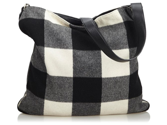 Céline Celine Black Plaid Wool Shoulder Bag Handbags Leather,Other,Wool,Cloth Black,White ref.125314