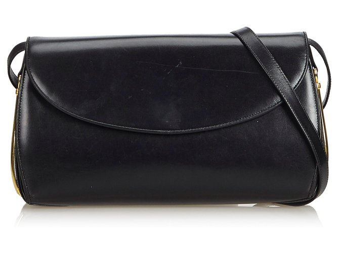 6a4de9663e Sacs à main Gucci Sac à bandoulière en cuir noir vintage Gucci Cuir,Autre  Noir