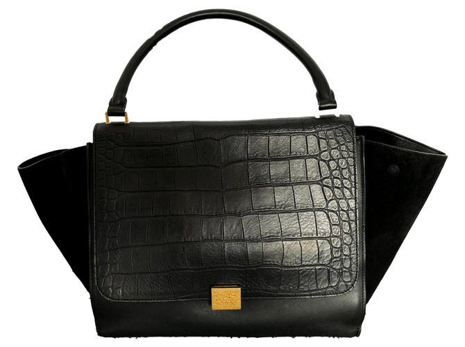 Céline TRAPEZE embossed croco, Wide Handbags Leather Black ref.125337