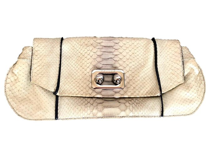 Céline Clutch bags Clutch bags Exotic leather Eggshell ref.125342