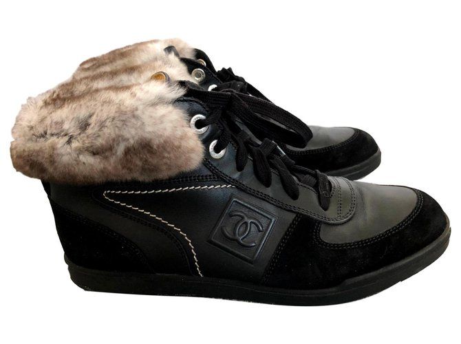 Chanel Sneakers Black Leather  ref.125346