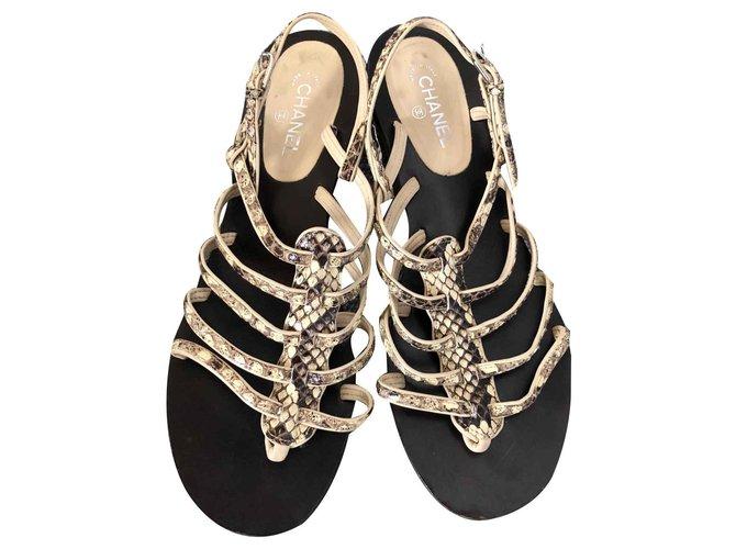 Chanel Sandals Light brown Python  ref.125400