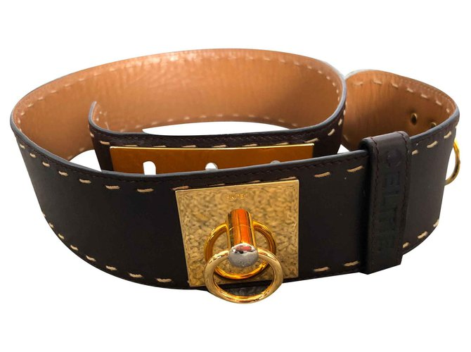 Céline dog collar Belts Leather Brown ref.125402