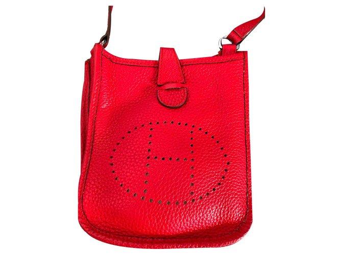Sacs à main Hermès EVELYNE TPM Cuir Rouge ref.125404