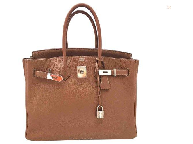 Hermès Birkin 35 Handbags Leather Golden ref.125452