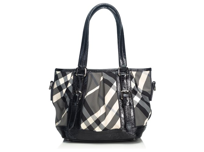cd05d7df Burberry Burberry Black Beat Check Lowry Canvas Tote Bag Totes  Leather,Other,Cloth,
