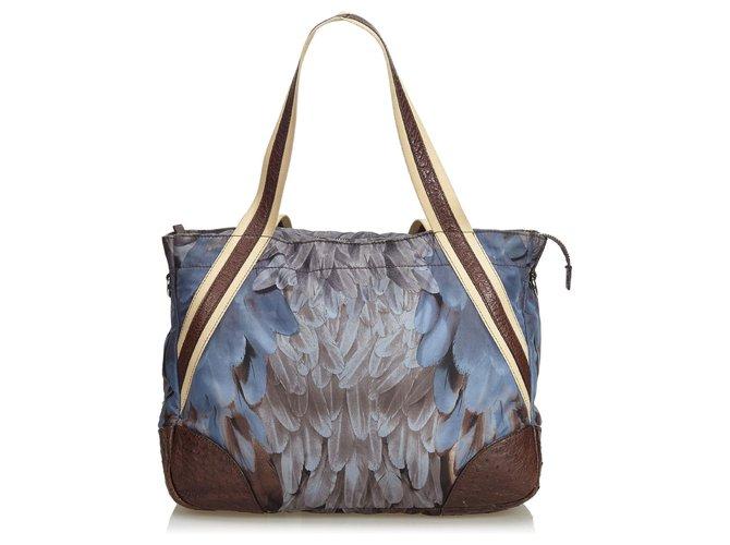 aef2a564bc0f Prada Prada Blue Printed Nylon Weekender Travel bag Leather,Other,Nylon,Cloth  Blue