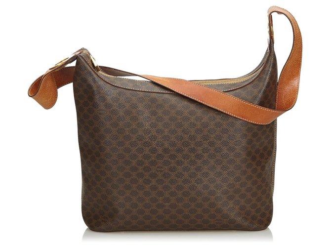 Céline Celine Brown Macadam Shoulder Bag Handbags Leather,Other,Plastic Brown ref.125567