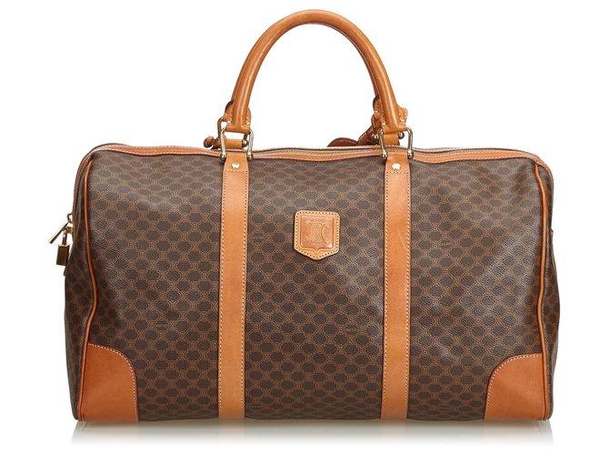 Céline Celine Brown Macadam Duffle Bag Travel bag Leather,Other,Plastic Brown ref.125578