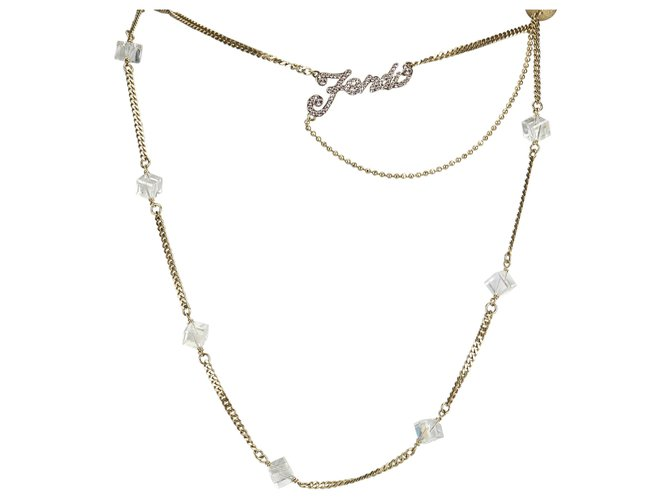 Fendi Fendi Gold Rhinestone Necklace Misc Other,Metal Golden ref.125590