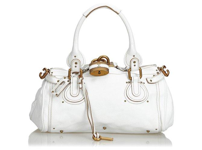 ed2821e5 Chloe White Leather Paddington Handbag