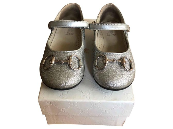 Gucci Ballet flats Ballet flats Leather Silvery ref.125614