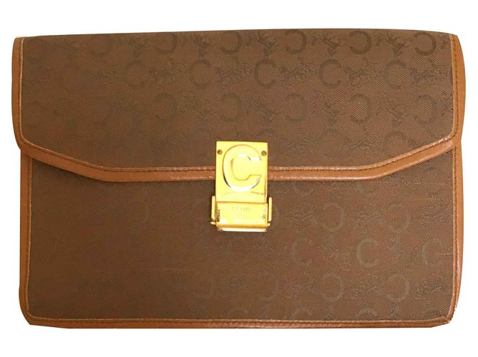Céline Clutch bags Clutch bags Cloth Brown ref.125631