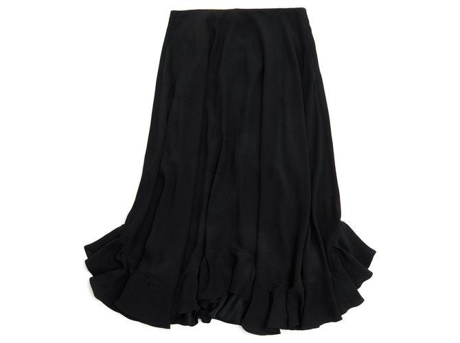 Chloé MAXI BLACK SILK FR38 NEW Skirts Silk Black ref.125676