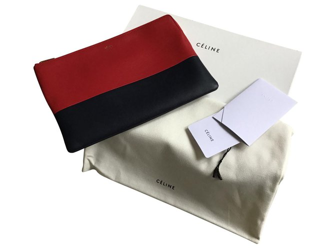 Céline Celine clutch Clutch bags Leather Red ref.125732
