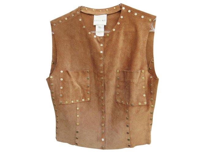 Céline Céline studded suede waistcoat Knitwear Deerskin Caramel ref.125754