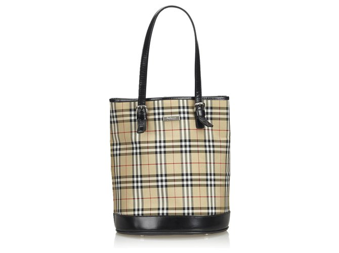 6162070a0 Burberry Burberry Brown House Check Canvas Tote Bag Totes Leather ,Other,Cloth,Cloth