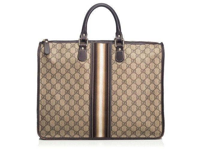Gucci Gucci Brown Web Briefcase Misc Leather,Other,Cloth Brown,White ref.125783