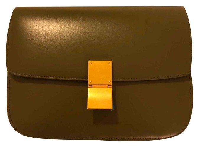 Céline Celine Classic box Handbags Leather Olive green ref.125799