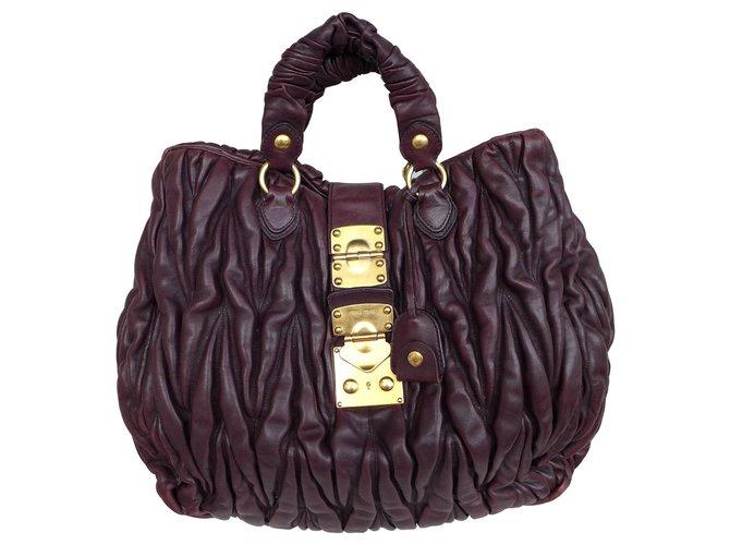 Miu Handbags Leather Brown