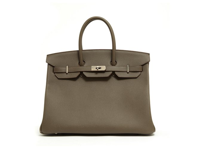 Hermès Birkin 35 EPSOM GRIS ETAIN NEW Handbags Leather,Metal Silvery,Grey ref.125919