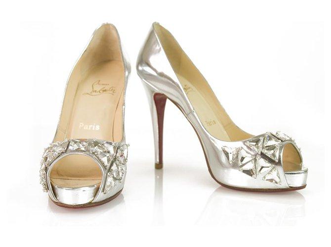 c5d13d38305 Christian Louboutin Silver Leather Embellished Crystal Peep toe platform  pump 37
