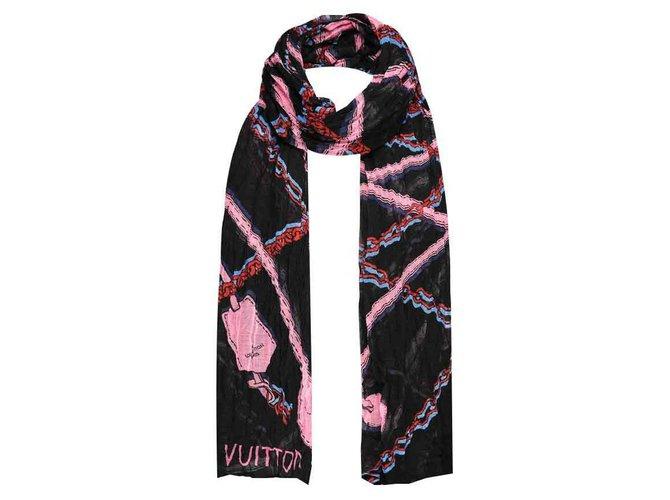 Foulards Louis Vuitton Manipulez-moi Soie,Coton,Modal Noir,Rose,Rouge,Bleu ref.126006
