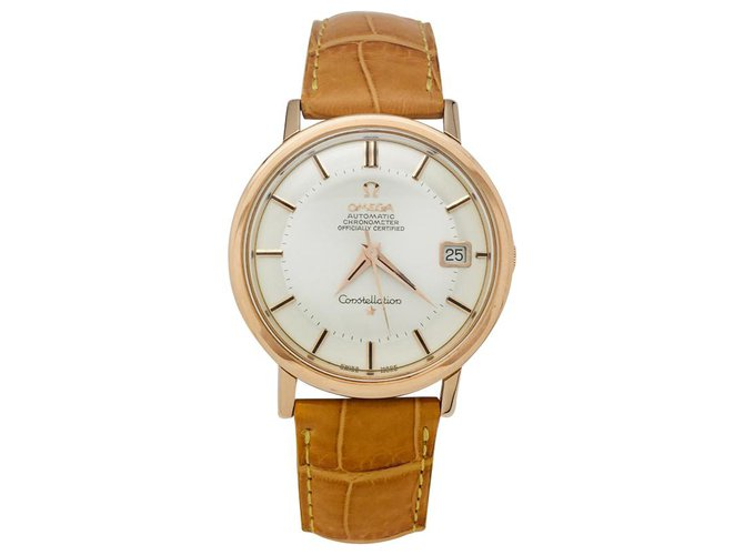 "Omega Omega watch, ""Constellation"", Rose gold, cuir. Misc Leather,Pink gold Other ref.126020"
