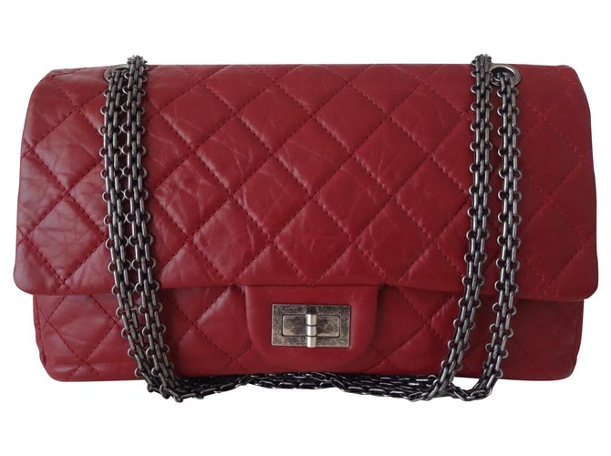 52fd46821e58 Chanel Chanel bag 2.55 RED JUMBO Handbags Leather Red ref.126048 ...