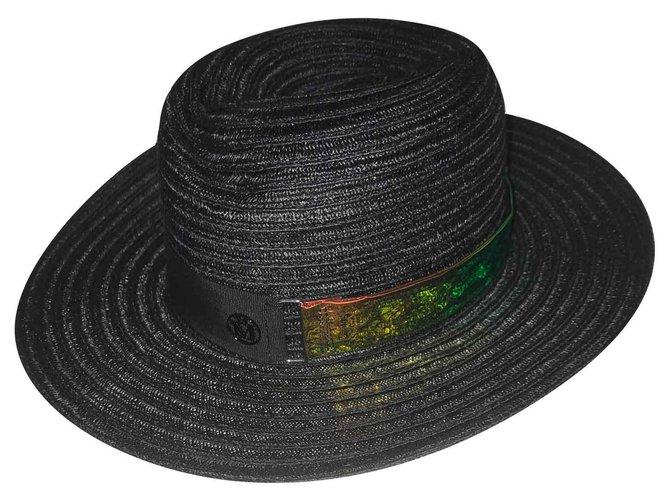 Maison Michel Virginia Hats Straw Black ref.126099