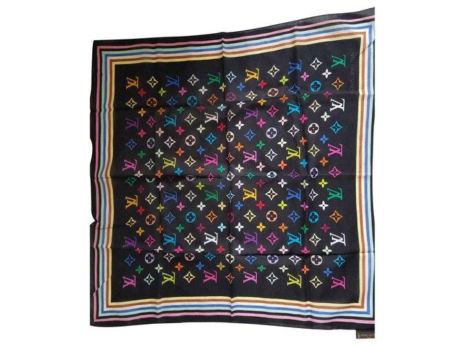 Carrés Louis Vuitton Carré foulard monogramme Soie,Polyester Noir ref.126141