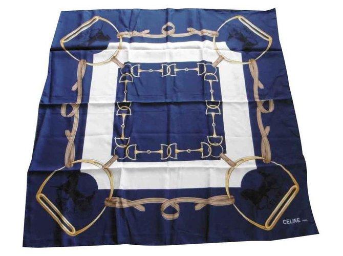 Céline Silk scarves Silk scarves Silk Eggshell,Dark blue ref.126192