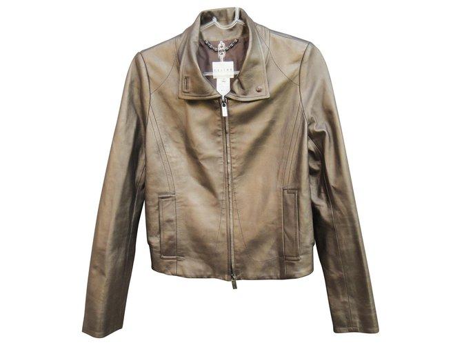 Céline Céline Lambskin Jacket With Silk Lining New Condition Jackets Silk,Lambskin Bronze ref.126247
