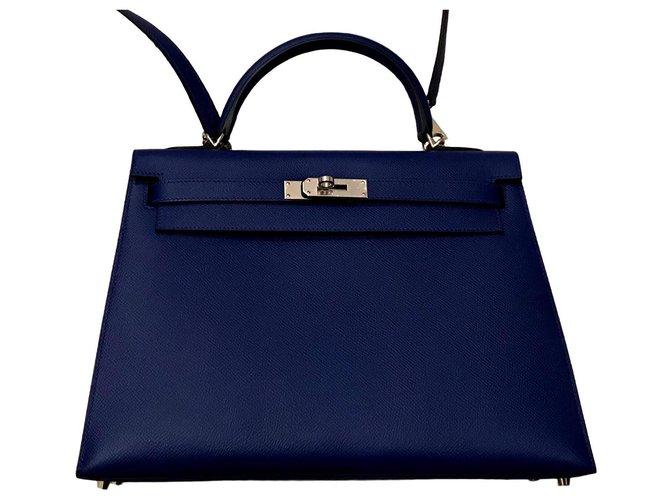 f19b0a07b6 Sacs à main Hermès Kelly hermès sellier 32 cm Cuir Bleu ref.126250 ...