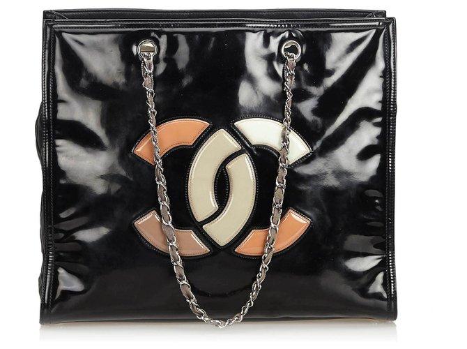 4f6fae24eb91af Chanel Chanel Black Patent Leather Lipstick Tote Bag Totes Leather,Patent  leather,Lambskin Black