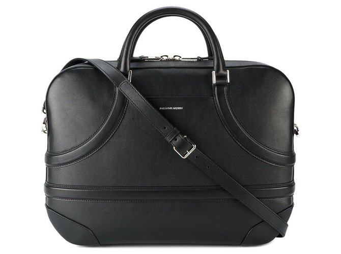 Alexander Mcqueen Alexander Mcqueen Black Leather Harness Briefcase Misc Leather,Other Black ref.126307