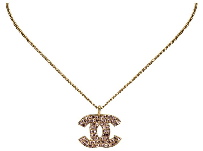 Chanel Chanel Gold CC Rhinestone Necklace Misc Other,Metal Pink,Golden ref.126335