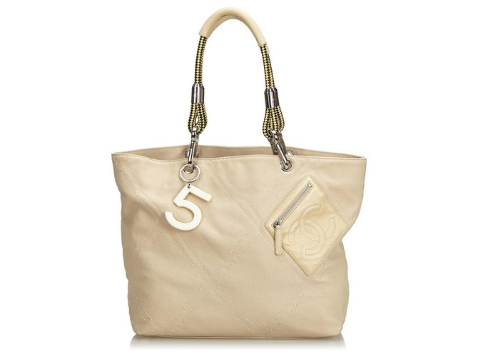 Chanel Chanel Brown No.5 Canvas Tote Bag Totes Leather,Cloth,Lambskin,Cloth Brown,Beige ref.126351