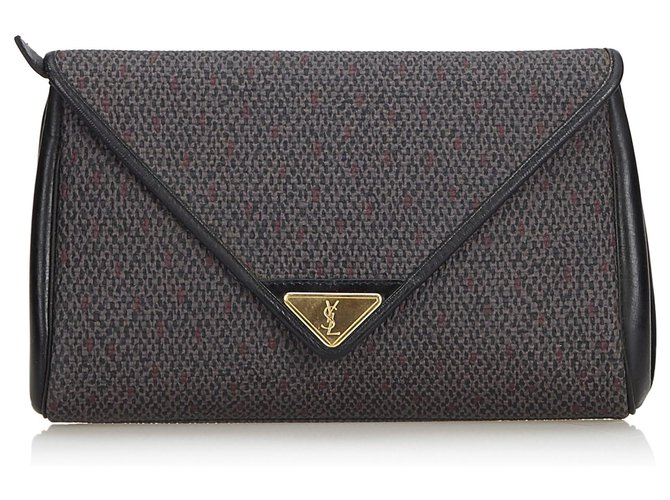 4fc372ca93e Yves Saint Laurent YSL Gray Woven Flap Clutch Bag Clutch bags Leather ,Other,Plastic