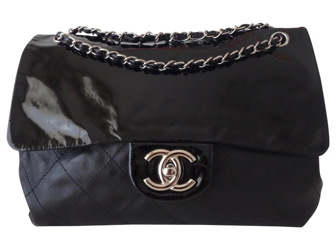Chanel GM CLASSIC CHANEL BAG Handbags Leather,Patent leather Black ref.126411