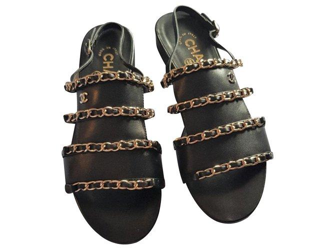 Chanel Chanel Black Sandals EU37 Sandals Leather Black ref.126445