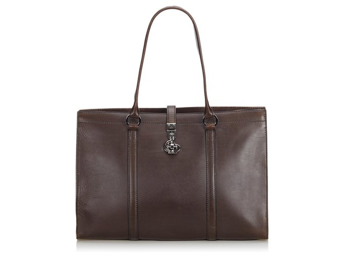 Gucci Gucci Brown Leather Business Bag Misc Leather,Other Brown ref.126465