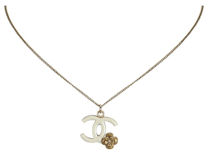 Chanel Chanel Gold Camellia CC Pendant Necklace Misc Other,Metal White,Golden,Cream ref.126467