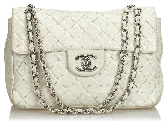 Chanel Chanel White Classic Jumbo Caviar Single Flap Bag Handbags Leather White ref.126488