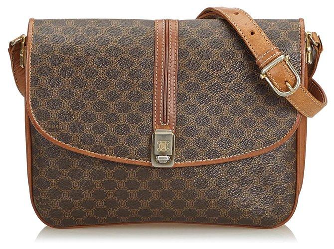 Céline Celine Brown Macadam Crossbody Bag Handbags Leather,Other,Plastic Brown ref.126508